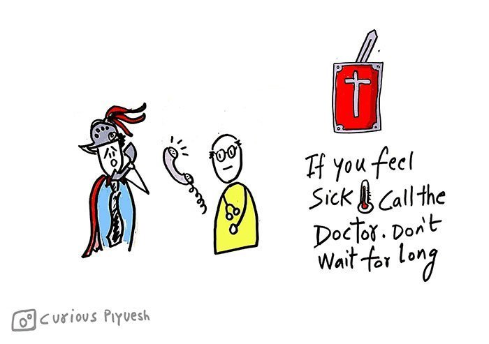 Call-the-doctor-immediately-if-you-are-sick-to-avoid-corona-virus-from-spreadking-Poster-and-Doodles-by-Curious-Piyuesh