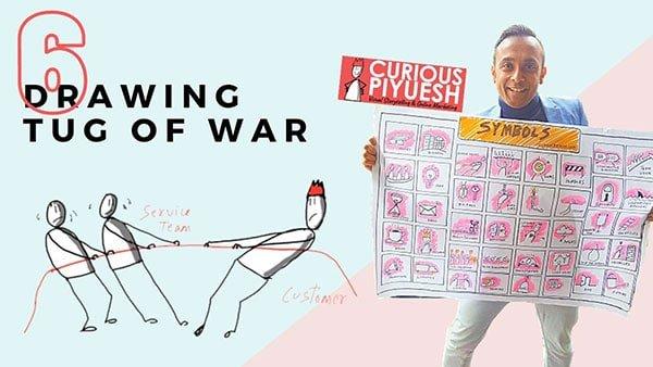 Business Doodles on Stake Holder Tug of War
